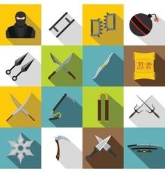 Ninja tools icons set flat style vector image