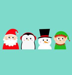 Penguin bird snowman santa claus elf round head vector