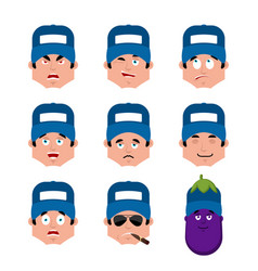 plumber set emotion avatar sad and angry face vector image