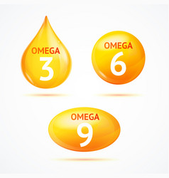 realistic 3d detailed omega fat drop and pills set vector image