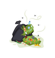 ripped black plastic bag spilling green smelly vector image