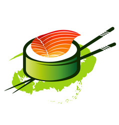 Rolls with fish meat and chopsticks vector