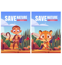 save nature cartoon posters tiger cub and monkey vector image