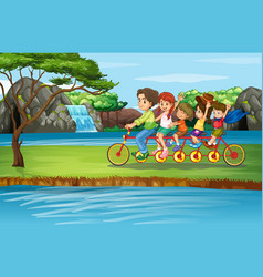 scene with family riding bicycle in park vector image