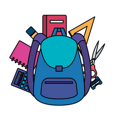 School bag with supplies icons vector