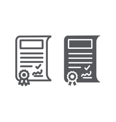 School sertificate line and glyph icon vector