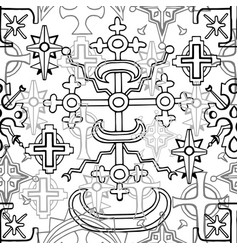 seamless pattern with fantasy crosses 4 vector image