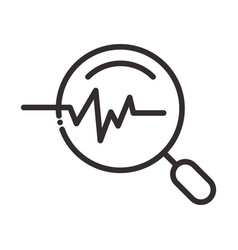 search icon pulse medical research thin line icon vector image