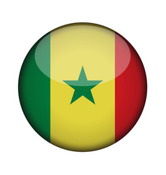 Senegal flag in glossy round button of icon vector