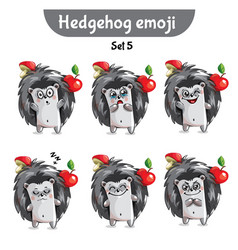 set of cute hedgehog characters set 5 vector image