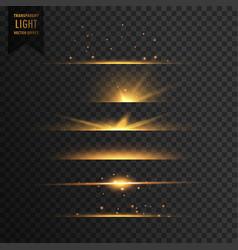 Set of golden stars transparent light effect vector