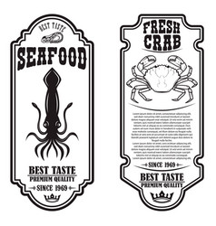 set seafood flyers with squid and crab design vector image