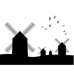 Silhouettes of typical spanish windmills and vector