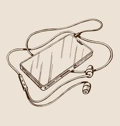 sketch smart phone with headphones vector image