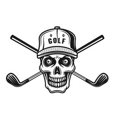 Skull golfer in cap and two golf sticks vector