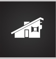 Small city house on black background vector