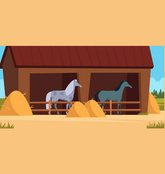 stable for horse care for domestic animal strong vector image