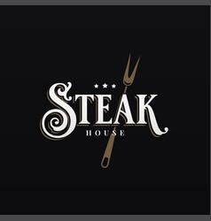 steak house logo on black design background vector image