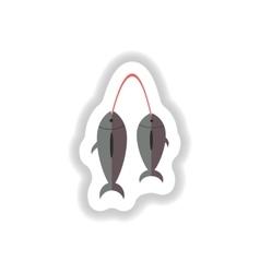 Stylish paper sticker of fresh sea fish vector
