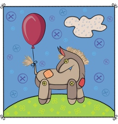 Toy donkey in the meadow vector