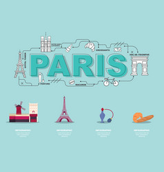 traveling in paris with landmark icons on green vector image