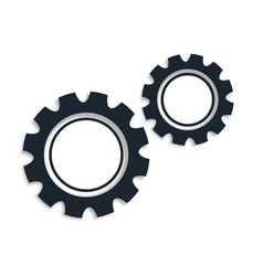 Two gear icons on white background design vector