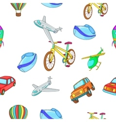 Types of transport pattern cartoon style vector image
