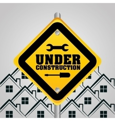 under construction sign houses background vector image