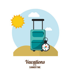 Vacations summer time suitcase with compass beach vector