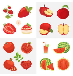 vegetarian food icons in cartoon style red color vector image