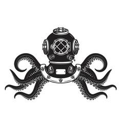 vintage diver helmet with octopus tentacles vector image