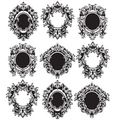 Vintage frames set classic rich ornamented vector