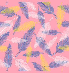 vintage seamless feather pattern vector image