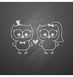 Wedding owls vector