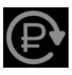 White halftone rouble recurring payment icon vector