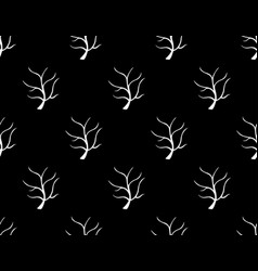 white tree stripped bare on black background vector image