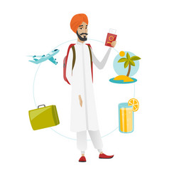 Young man traveler holding passport with ticket vector