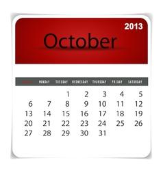 2013 calendar October vector image
