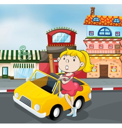 a girl near car vector image vector image
