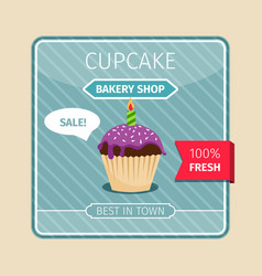 cute card purple cupcake with candle vector image
