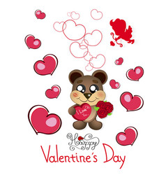 valentine s day teddy bear vector image vector image