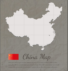 Vintage china map paper card map silhouette vector