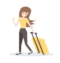 Young woman with yellow suitcase isolated on vector