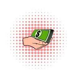 Hand with dollar bills icon comics style vector image