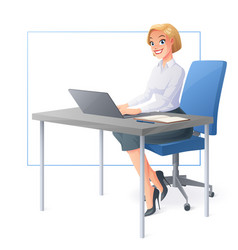 smiling business woman working with laptop vector image