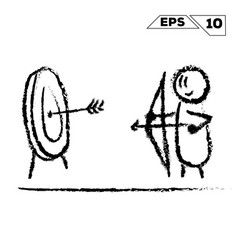 stick figure archer shoots at the target hand vector image