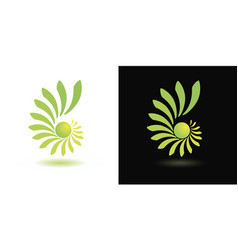 abstract green yellow logo on white and black vector image
