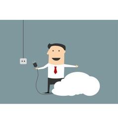 Cartoon businessman connecting personal cloud vector image vector image