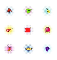 European Spain icons set pop-art style vector image vector image
