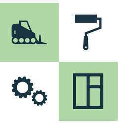 Industry icons set collection of cogwheel paint vector